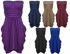 Womens Ladies Boobtube Tie Back Drapy Ruched Party Dress Sizes UK 16 - 22
