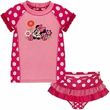 Disney Store Pink Minnie Mouse Rashguard Polka dots Swimsuit -2-Pc. Bathing suit