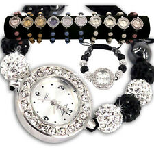 LADIES SPARKLING SHAMBALLA WATCH CRYSTAL DISCO BALL BLING DIAMANTE BRACELETS SET