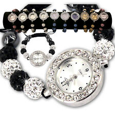 LADIES SPARKLING SHAMBALLA WATCH CRYSTAL DISCO BALL BLING DIAMANTE BRACELETS SE