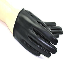 Sexy and the City Half Palm Genuine Lambskin Leather Women Gloves Black Red M L