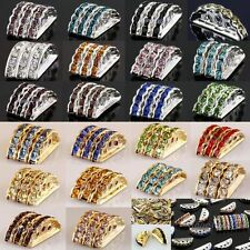Wholesale Crystal Rhinestone Golden/Silvery 3Holes/Strands Spacer Beads Findings