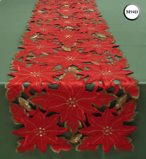 New Embroidered Christmas Poinsettia Table Runner Cutwork Centre Piece M94