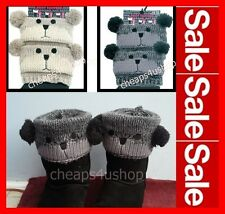 Pair New ★ Ladies/Girls Bear with Pom Pom Leg Warmers Boot Toppers※071※※