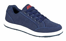 Mens Canvas Laced Plims Holiday Deck Shoes Trainers Pumps Casual Navy Blue New