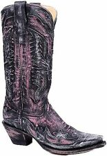 Womens Distressed Charcoal/Pink Leather Eagle Overlay Corral Cowgirl Boots
