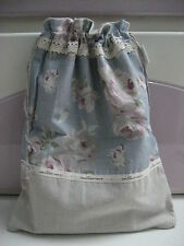 Cabbage Rose Chic Vintage Floral Cotton Drawstring Travel Lingerie Makeup Bag