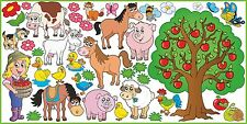 WALL STICKERS for KIDS Decal FARM PETS horses cows animals dog cat flower SET 2