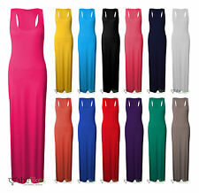 Womens Ladies Long Jersey Stretch Muscle Racer Back Plus Size Maxi Dress 16-26