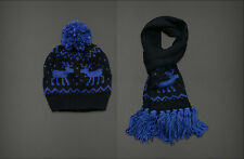 NWT ABERCROMBIE & FITCH A&F Classic Winter Knit SET Comfy Scarf Hat Blue Navy