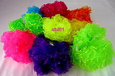 COLOURED FANCY FRILLY HAIR SCRUNCHIE BAND BOBBLE FANCY DRESS/HEN PARTY 2x  NEW