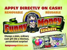 Funny Money Stickers, Apply Directly on Cash in a Card and Personalize Your Gift