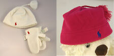NWT Ralph Lauren Girl's Fleece Hat and Glove Mitten Set , Pink / Cream  4~6X
