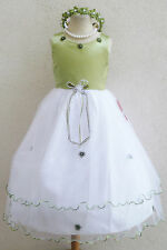 # 2 RT SATIN SAGE EASTER FLOWER GIRL DRESS PAGEANT PARTY DRES SIZE 2 4 6 8 10 12