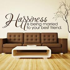 Happiness is being married to your best friend Wall Quote Sticker - Art Decor