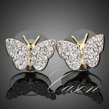 18K Real Gold Plated Austrian Crystal Fashion Lovely Butterfly Stud Earrings