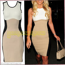 Women's Optical Illusion Contrast Bodycon Slimming Fitted Black Celeb Dress