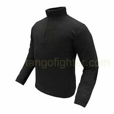 CONDOR #607 Micro Fleece Pullover 1/4 Zip Chest Pocket Thumb Hole Slim Fit BLACK