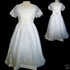 New Girl Wedding Bride maid Pageant 1st Holy Communion  Dress White 5 6-10 12