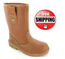 Mens Ladies Work Tan Midsole Fur Lined Safety Rigger Boots Steel Toe Cap UK 3-13