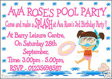 PERSONALISED GIRLS & BOYS SWIMMING POOL PARTY INVITATIONS X 10 ON GLOSS CARD !!