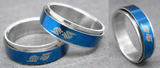 R051P Stainless Steel Spin Ring Dragon Men Blue Style You Pick Ring Size
