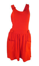 TOPSHOP RED JERSEY PINAFORE DRESS CROSS STRAP BACK