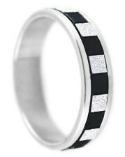 R091P Stainless Steel Ring Black & Silver Tone True Love You Pick Ring Size
