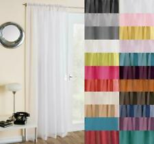 PLAIN VOILE CURTAIN PANEL ~ Many Colours ~ Slot Top Voiles FREE 1st Class Post