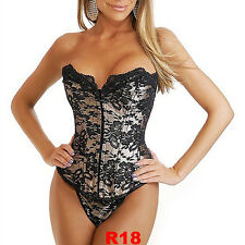 Sexy Fashion Lace Up women Corset Bustier Top Ladies Costumes Lingerie S-XXL R18