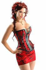 C93 New SEXY RED BONED CORSET BASQUE Skirt Thong Set size UK 6-14 Lingerie