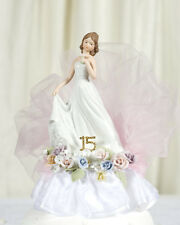 NEW Pastel Rose HANDPAINTED Porcelain Quinceanera - Sweet Sixteen Cake Topper
