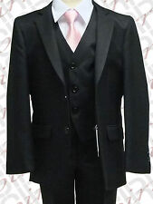 UK BOYS BLACK 3PC PAGE BOY SUIT WEDDING, PARTY, DINNER, PROM, AGE 6M TO 16 YRS