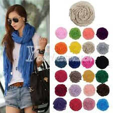 Korean Style 170cm Women Cotton Candy Folds Soft Crinkle Scarf Wrap Shawl Stole