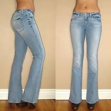 $179 Seven 7 For All Mankind A-Pocket Flare Mid-Rise Jeans Light Pale Blue 25-28