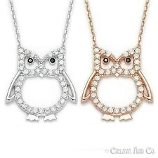 Owl Charm CZ Cubic Zirconia Sterling Silver Pendant Fashion Jewelry-Rose/White