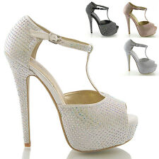 LADIES DIAMANTE SANDALS WOMENS EVENING PROM HEELS WEDDING BRIDAL PLATFORM SHOES