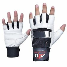 ARD Heavy Duty Weight Lifting Gloves Gym Training Leather PADDED Palm white S-2X