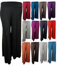NEW LADIES PLUS SIZE FLARED WIDE LEG PARALLEL BOTTOM PANTS SUMMER TROUSERS 8-26