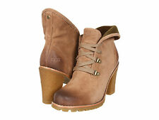 UGG Australia Calynda Ankle High Boots Leather Fawn Brown All Sizes $180 New
