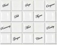 "Tile Transfers stickers Herbs sage basil etc to fit 4"" and 6"" tiles Pack of 10"