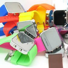 Mirror LED Wrist Watch  FASHION Silicone Band Unisex Jelly candy Sport Style HOT