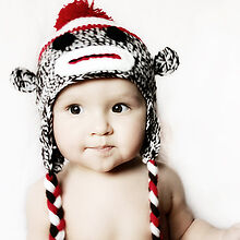 MADE IN USA Classic sock monkey baby hat made with 30% milk protein fiber