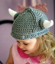 MADE IN USA Crochet baby viking hat, made with 30% milk protein 70% cotton yarn