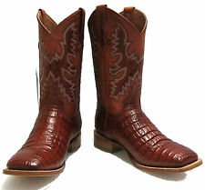 Crocodile Alligator belly cut design leather cowboy western boots square toe