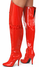 NEW PVC WIDE Ladies Transvestite High Heel Thigh High Boots Red UK 8 9 10 11