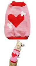 Dog Sweater Pink Heart XS S M L - Coat Puppy Pet Clothes Jacket Jumper Chihuahua