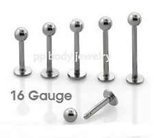 "1PC 16G~1/4"" to 5/8"" 316L Surgical Steel Cheek Labret Monroe Tragus Piercing"