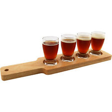 Beer Tasting Classy Serving Set - Birch Wood Paddle/Tray & 4 Glasses - Home Bar