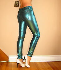 $198 Seven 7 For All Mankind Skinny Jeans Metallic Teal Green Leather-Look 24-29